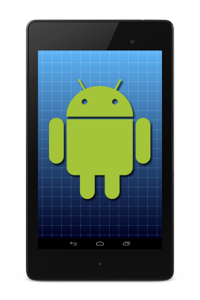 Android logo on tablet screen