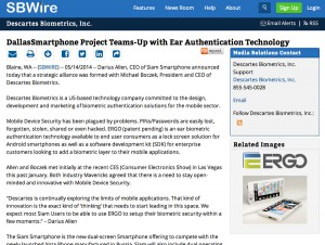 ReleaseWire Descartes Biometrics and Siam Team Up