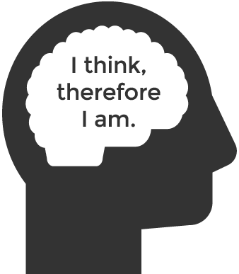 I think, therefore I am quote inside brain