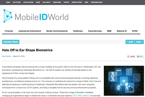 Mobile ID World Ear Shape Biometrics Article
